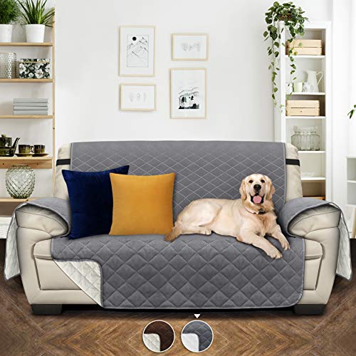 Utopia Bedding Copridivano Reversibile - Resistente allo Sporco - Protezione per mobili per Animali Domestici e Bambini [Adatto a divani in Pelle - No] (2 posti, Grigio/Beige)