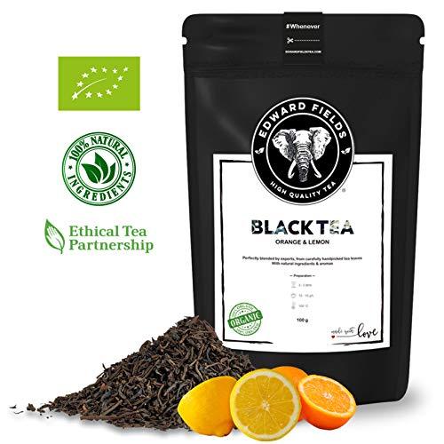 Edward Fields - Té Negro Orgánico de alta calidad con Naranja y Limón. Ingredientes y aromas naturales. Cantidad: 100g. Formato: Granel. Origen: India. Detox, antioxidante, adelgazante