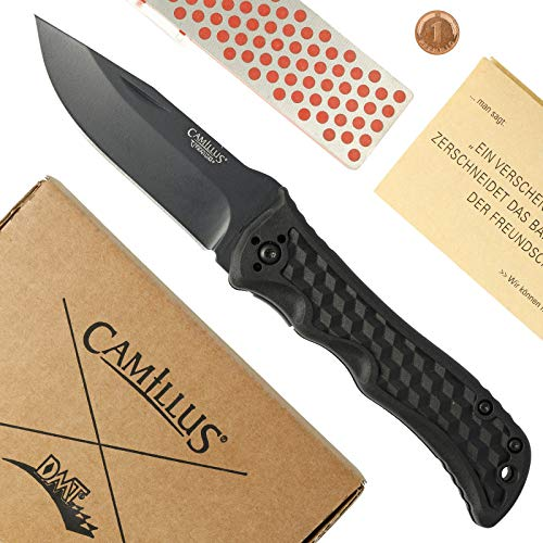 Camillus Outdoor DMT Set Reverb Zweihand-Klappmesser, schwarz & Mini-Sharp Diamantschärfer in Geschenk-Box mit Pfennig, 19279 Bundle, schwarz, Messer: 17,2 cm Schärfer: 14,4 cm