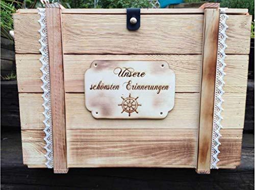 Große Erinnerungskiste Maritim aus Holz, graviert mit Wunschmotiv – Hochzeitsgeschenk personalisiert – Erinnerungskiste mit Gravur – Hochzeitskiste – Hochzeitstruhe - 3