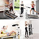 Folding Non-Electric Treadmill - Multifunctional Supine, T-wisting, Draw Rope 4-in-1 Shock Running Machine, Wide Walking Area, No Power, Mechanical Walking Machine for Home Gym Workout Fitness