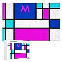 INOV モンドリアン すみれ色 紫色 青い ジグソーパズル 木製パズル 1000ピース インテリア 集中力 75cm*50cm 楽しい ギフト プレゼント