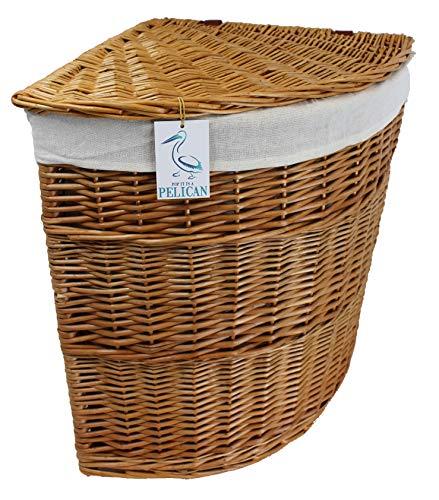 Pop-it-in-a-pelican Cestos de mimbre esquineros para la colada, color gris, marrón y blanco, con forro de algodón, sauce entero con tapa, lavado, almacenamiento de ropa dormitorio (natural, 100 l)