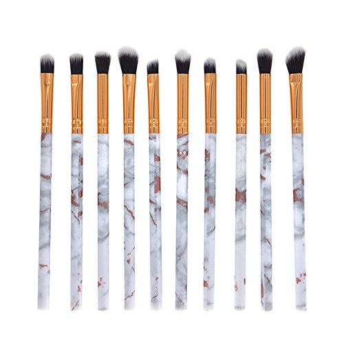 Demarkt 10 pcs Marbre Maquillage Brosse Multi-Couleur Marbre Maquillage des Yeux Beauté Brosse Beauté Maquillage Kit (Blanc) 13.5cm