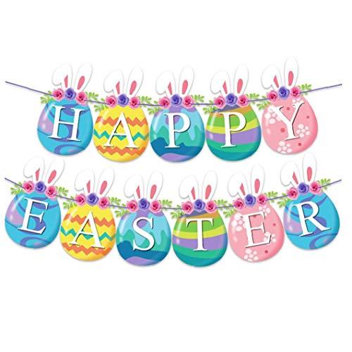Kacniohen Pascua Garland Kit de Papel de Pascua Banderas temáticas Que cuelga la decoración del hogar Pascua Fiestas de cumpleaños Mejor Regalo