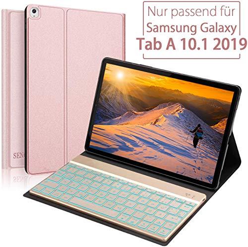 SENGBIRCH Samsung Galaxy Tab A 10.1 2019 Tastatur Hülle, Auto Schlaf/Aufwachen Hülle mit Hinterleuchtet Deutsche Tastatur für Galaxy T510 & T515 - Rotgold