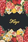 Kirya Notebook: Lined Notebook / Journal with Personalized Name, & Monogram initial K on the Back Cover, Floral cover, Gift for Girls & Women