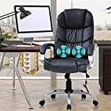 Ergonomic Home Office Chair Desk Chair Executive Chair High Back Leather Computer Chair with Arms Lumbar Support Headrest Massasge Height Adjustable Swivel Rolling Task Chair for Adult Women Men