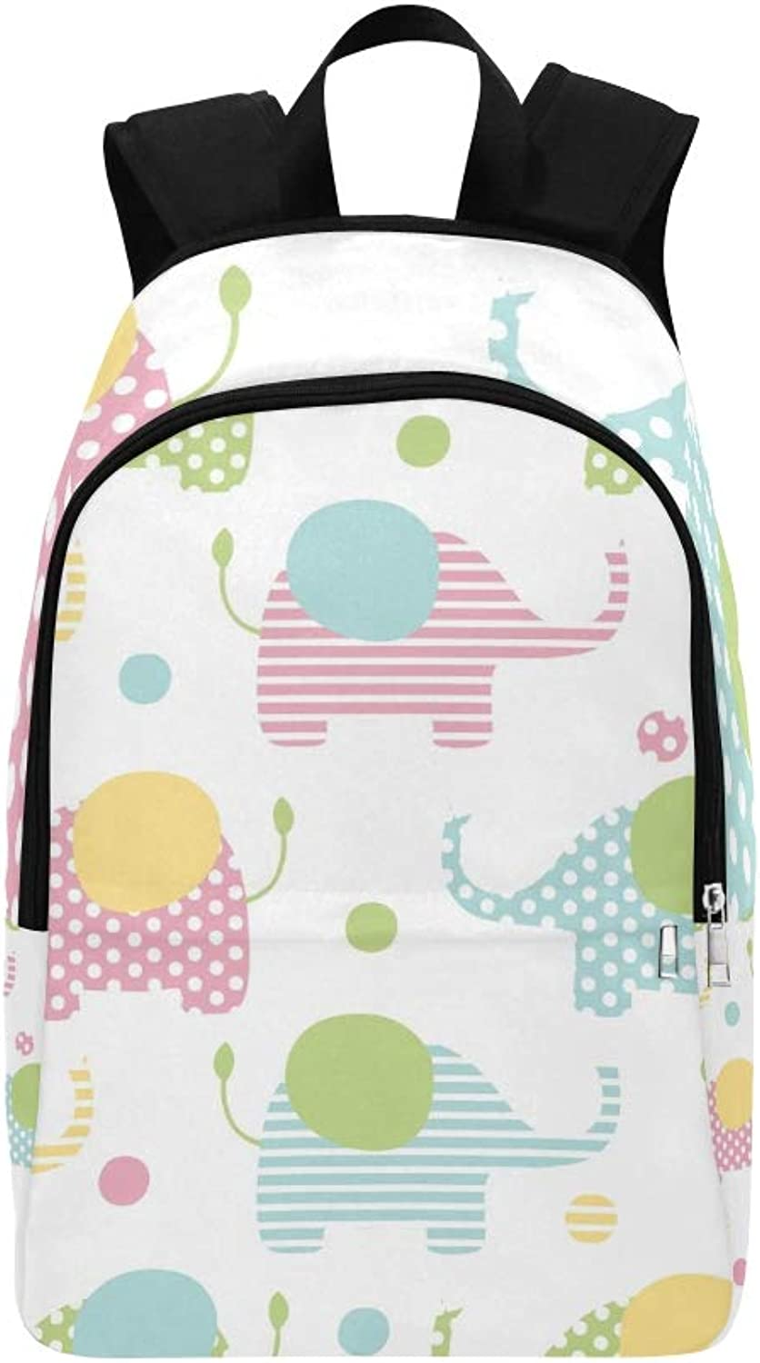 Cute Elephants Pastel colors Casual Daypack Travel Bag College School Backpack for Mens and Women