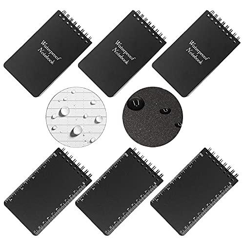 6 Piezas Cuaderno Impermeable,Bolsillo Blocs Notas,Cuadernos En Espiral Con Cubierta Negra Para...