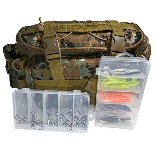 FIHGA Angeltasche mit Boxen inklusive Köder Set für Barsch und Zander