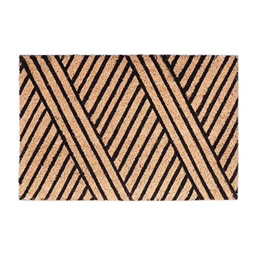 Relaxdays Fußmatte Streifen aus Kokos, HxBxT: 1,5 x 60 x 40 cm, rutschfest, gestreift, Kokosfaser, Gummi, natur-schwarz