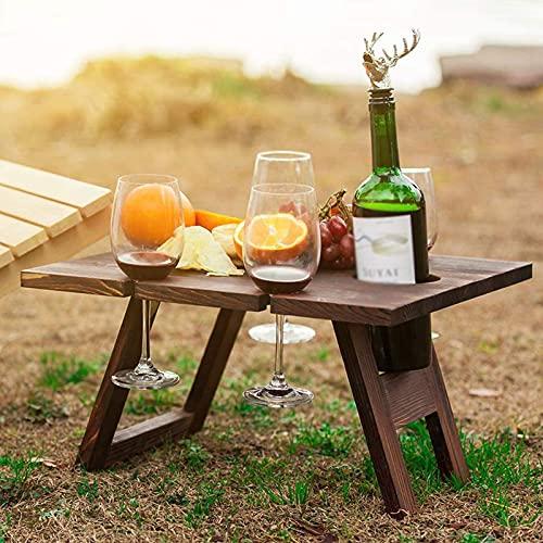 Mesa de Picnic PortáTil para Vino, Bandeja Plegable de Madera para Refrigerios Y Quesos Con 4 Soportes para Vasos, Estante para Copas Vino 2 en 1 para Fiestas JardíN Camping Playa Cena Aire Libre