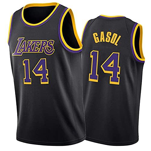 TFGVC Lakers Gasol 14# Camiseta de Baloncesto, Deportes de Moda Juvenil y cómoda Camiseta sin Mangas de Malla, Transpirable y de Secado rápido y Chaleco Suave Black-XXL