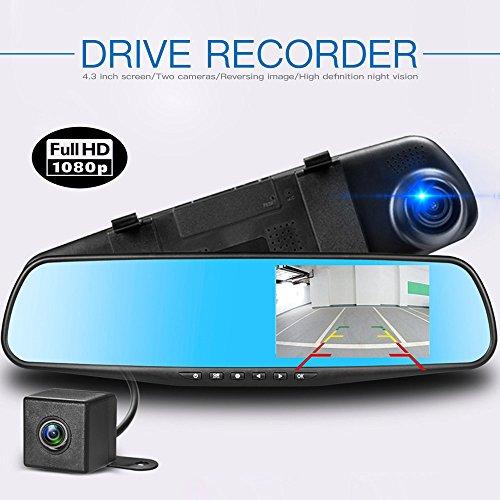 Lychee Full-HD-Doppelobjektiv-Rückspiegel-Einparkhilfe-Autokamera, 10,9cm, mit 170-Grad-Weitwinkel-Objektiv und Nachtsicht, unterstützt 32GB, Bewegungserkennung, G-Sensor, Fahrzeug-Blackbox-DVR.