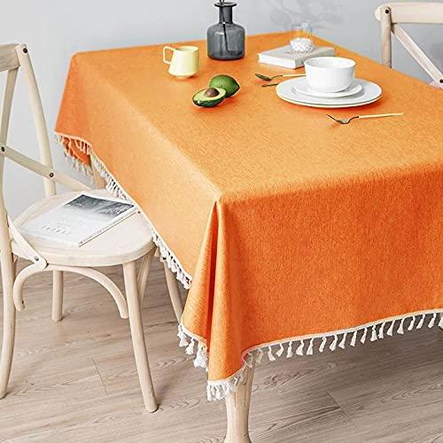 XQSSB Mantel para Mesa de Cocina o Salón Hojas Rectangular Anti Escaldaduras Impermeable Diseño de Comedor Decoración del Hogar Naranja 140 × 200cm