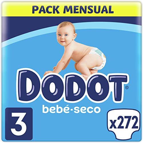 DODOT Bebé-Seco Pañales Talla 3, 272 Pañales, 6-10 kg, Hasta 12h De Protección Anti-fugas
