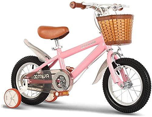 TYX-SS Bicicletas para Niños para Niños para Niños Reunidos con Ruedas De Entrenamiento, 2-12 Años, Niñas, Bicicleta para Bebés, Regalos De Cumpleaños Lindos,Rosado,12inch