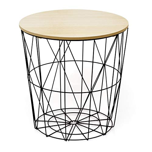 Carousel Home Gifts Round Wooden Top Geometric Wire Occasional Side Table | Coffee Table With Storage | Living Room Side Tables | Wire End Table