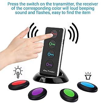 Recherche de clé sans fil, Localisateur de clés à 100Db décibels élevés avec lampe de poche LED, Convient pour la clé Portefeuille Des lunettes