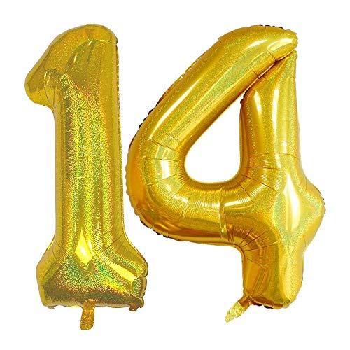 DIWULI, gigantische glitzer XXL Zahlen-Ballons, Zahl 14, Sparkling Gold Luftballons, Zahlenluftballons, Folien-Luftballons Nummer Nr Jahre, Folien-Ballons 14. Geburtstag, Party-Deko, Dekoration