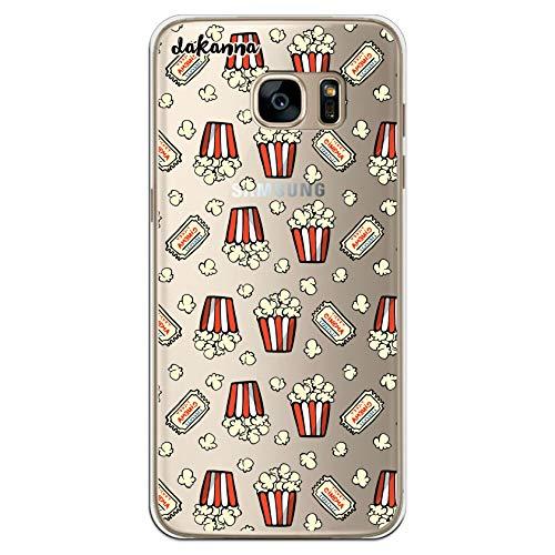 dakanna Funda para [Samsung Galaxy S7 Edge] de Silicona Flexible, Dibujo Diseño [Patron de Palomitas y entradas de Cine Vintage], Color [Fondo Transparente] Carcasa Case Cover de Gel TPU
