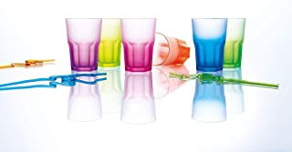 Luminarc Techno Colors Glass Drinkware Set, 6 Pieces, 400 ml - Multi Color