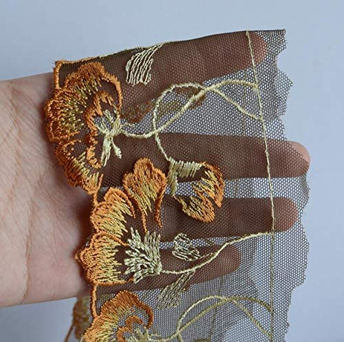 SELCRAFT 2 Meters Floral Embroidered Lace Trim Wedding Veil Lace Mesh for Wedding Bridal and Garment Decoration 8cm Width Style 1305