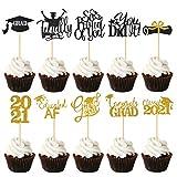 Giiffu 2021Graduation Cupcake Toppers, 80PCS Food Picks For Graduation Party Mini Glitter Toppers Cake Decorations, Congrats Grad, Class of 2021, Diploma, Grad Cap (10 styles)