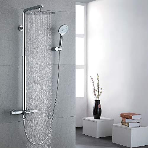 Homelody Duschsystem mit Thermostat Duscharmatur Messing Regendusche Duschset inkl. 12-Zoll Überkopfbrause und 3 Strahlarten Handbrause Duschsäule