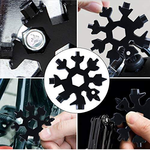 Snowflake Multi Tool,18 in 1 Snowflake Hand Tools Hexagon Wrench Screwdriver Keyring for Outdoor Travel Camping Adventure Daily Tool ,Gadgets Gift for Men