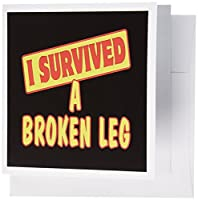Dooni Designs Survive Sayings – I Survived a Broken Leg Survival Pride andユーモアデザイン – グリーティングカード Set of 6 Greeting Cards
