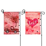 Ubrand 2 Pack Valentine's Day Garden Flag - Love Heart & Flower Car Yard Flag - Vertical Double Sized Holiday Yard Outdoor Decoration 12 x 18 Inch (Love Heart & Flower Car)