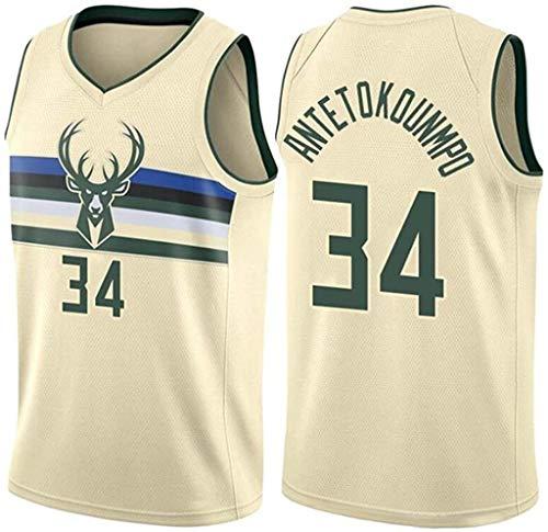llp Jersey de Baloncesto Deportivo para Hombres, Milwaukee Bucks # 34 Giannis Antetokounmpo Retro Bordado Neutro Baloncesto Juego de Baloncesto Uniforme (Size : X-Large)