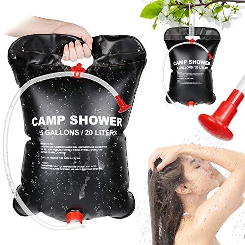 MGRETT Campingdusche Solar, 20L Solardusche Camping, Outdoor Tragbare Solardusche Dusche Tasche, Solar Gartendusche Warmwasser Duschsack für Outdoor Camping,Wandern