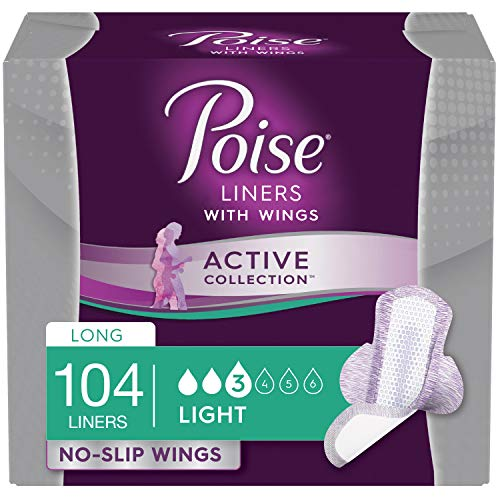 Poise Active Collection Incontinence Liners with Wings, Long, Light Absorbency, 104 Count (4 Packs of 26) (Packaging May Vary)