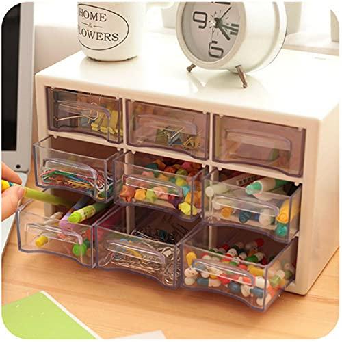 WZhen Caja de almacenamiento portátil de plástico 9 enrejado mini gabinetes de desechos Amall cajón de joyería