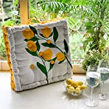 Color: Lemon Print, Size Name: Standard Material: Cotton Package Contents: Square Floor Cushions Natural Cotton Printed Design with Cotton Filler, Meditation, Yoga, Pooja, Guests, Living Room, Bedroom Size: Standard Care Instructions: Machine Wash Sq...