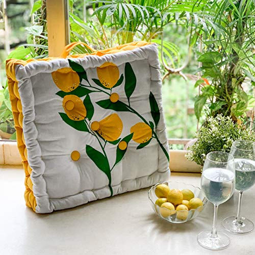 PIXEL HOME Square Floor Cushions 40 x 40 x 8 cm - Natural Cotton Printed Design with Cotton Filler, Meditation, Yoga, Pooja, Guests, Living Room, Bedroom (Lemon Printed) (Lemon Print)