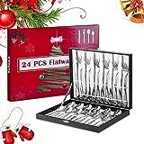 Velaze Juego 24 Piezas de Cubiertos, Vajilla de Acero Inoxidable 18/10 para 6 Personas, Cubetería de Navidad Incluye 6 Cuchillos de Mesa, 6 Tenedores, 6 Cucharas y 6 Cucharitas de Té, Plata Pulido