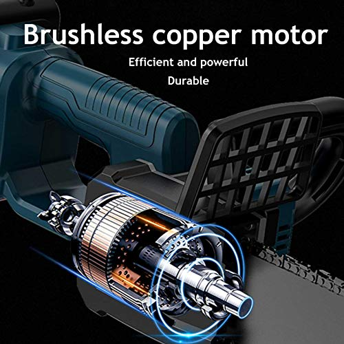 Loveinwinter Electric Cordless Chainsaw, 8 inch Portable Brushless Copper Motor Anti-Slip Handheld Electric Saw with Battery for Garden Work