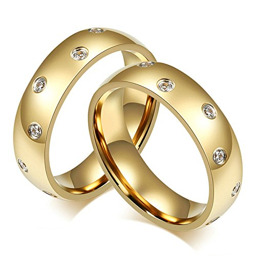 Bishilin Lesbian Rings for Couples Set with 2 Rings 2 Pcs Stainless Steel Mens Ring CZ Gold Rings 7 & 11