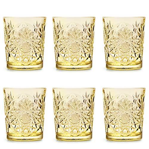 Libbey Bicchiere Hobstar Pale Yellow - 355 ml/ 35,5 cl - set di 6 pezzi - disegno vintage - lavabile in lavastoviglie - alta qualità