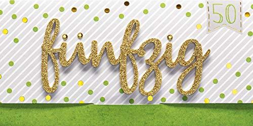 Perleberg Geburtstagskarte zum 50. Geburtstag Lettering Surprise - fünfzig - 11 x 22 cm 7784004-2
