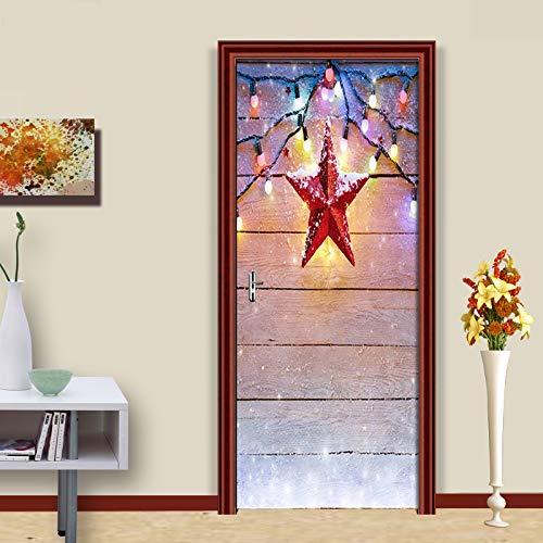 Etiqueta de Puerta Autoadhesiva Extraíble Diy Estrella Imprime Obra de Arte Imagen Dormitorio Adhesivo Decorativo de Puerta 90X200 cm