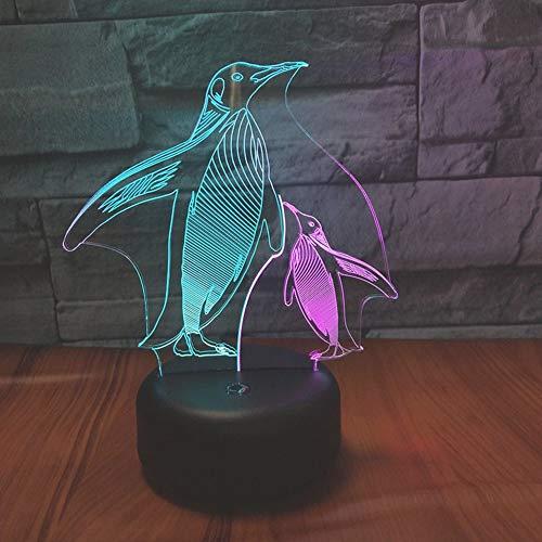 DAKANG 3D optische illusie LED nachtlampje, 7 kleuren veranderende touch bureaulamp decoratieve lamp met acryl plaat ABS Base USB-oplader voor geschenken (pinguin)