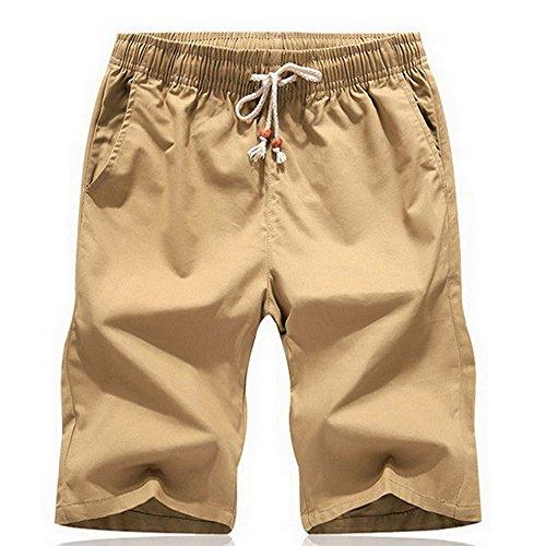 Sevem-D Summer Men Cotton Shorts Comfortable Elastic Waist Boardshorts Breathable Casual Male Shorts Khaki M
