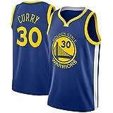 Egdu Camisetas de Baloncesto de la NBA para Hombre, Golden State Warriors # 30 Stephen Curry Jersey Camiseta de Baloncesto Vintage Resistente al Desgaste Transpirable,Azul,S