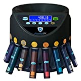 Automatischer Euro Münzzähler & -sortierer Geldzählmaschine SR1200LCD mit Abhülsung Geldzähler Münzzählautomat Securina24 (schwarz LCD - BBB)