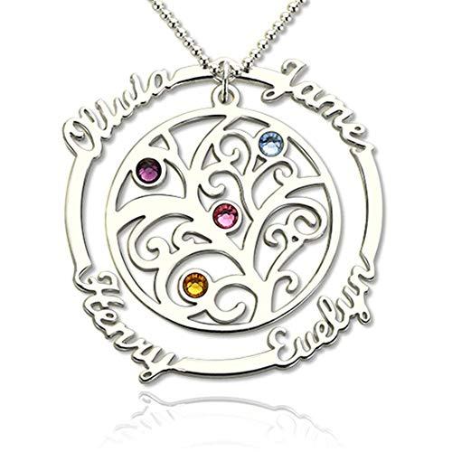 Namenskette Personalisiert Baum Silber 925 Gravur mit Geburtsstein und 4 Namen—Rund Kreis Namenskette Lebensbaum Rosegold Gold Custom mit Wunschnamen für Mütter Frau